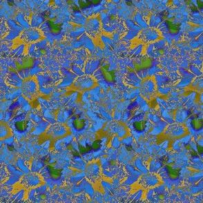 Blue daisy batik