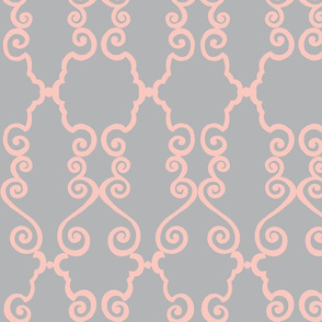fancy scroll  pink/grey