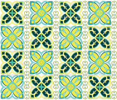 Asian Pattern Turquoise & Teal