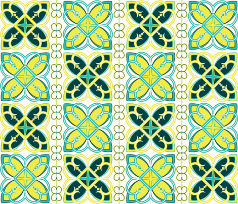 Asian Patterns Turq-Yel fabric by alchemiedesign on Spoonflower - custom fabric