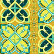 Asian Patterns Turq-Yel