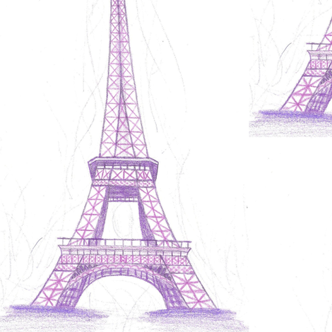 Eiffel Tower in purple - large scale fabric by mezzime on Spoonflower - custom fabric
