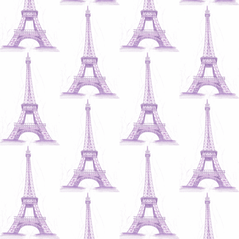 Eiffel Tower in purple - small scale fabric by mezzime on Spoonflower - custom fabric