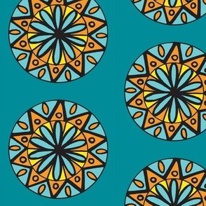 Turquoise Orange circle flower