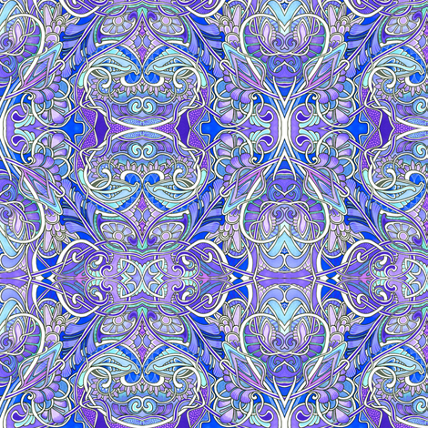 Rococo Romance in Blues and Lavenders fabric by edsel2084 on Spoonflower - custom fabric