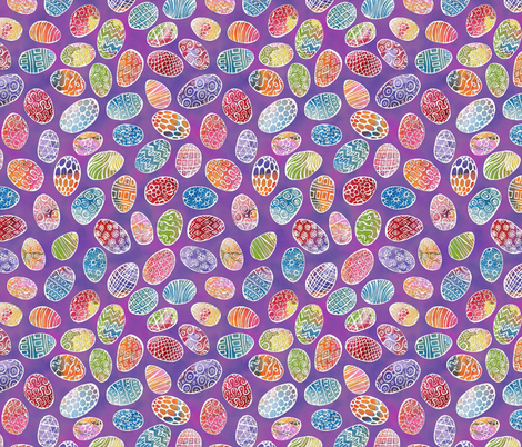 Painted Eggs on Purple fabric by ghennah on Spoonflower - custom fabric