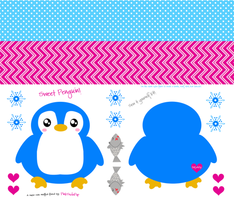 Sweet Penguin! - Sew It Yourself Kit  - © PinkSodaPop 4ComputerHeaven.com fabric by pinksodapop on Spoonflower - custom fabric