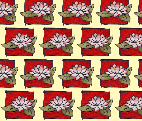 oriental_lily_on_red fabric by vos_designs on Spoonflower - custom fabric