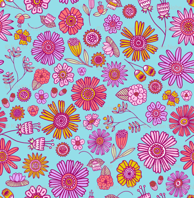 Spring Florals - blue