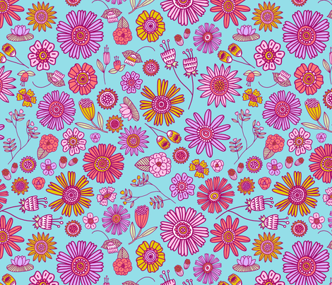 Spring Florals - blue fabric by kristinnohe on Spoonflower - custom fabric