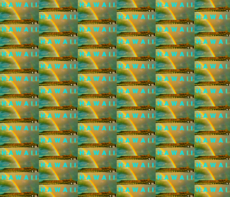 Diamond Head Rainbow, Hawaii fabric by sisterface-designs on Spoonflower - custom fabric