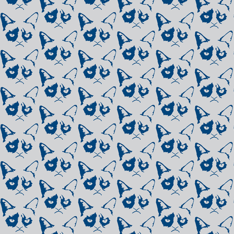 Cat Shadow Blue fabric by knitmileofdoom on Spoonflower - custom fabric