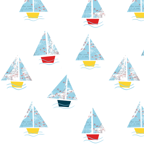 Paper Boats Original fabric by louiseisobel on Spoonflower - custom fabric