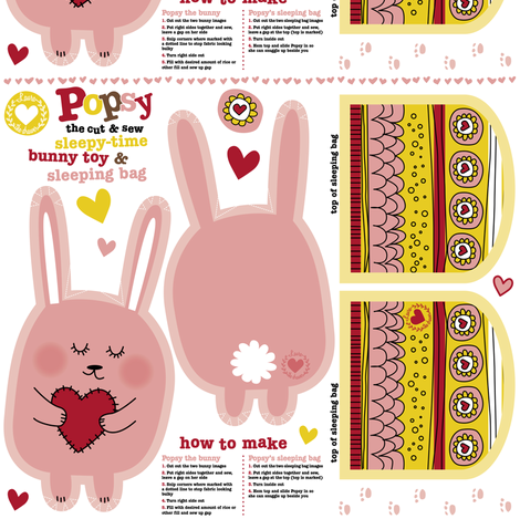 Popsy the cut and sew bunny toy fabric by laura_the_drawer on Spoonflower - custom fabric