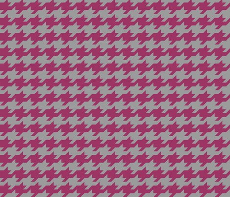 Houndstooth - berry and grey fabric by little_fish on Spoonflower - custom fabric
