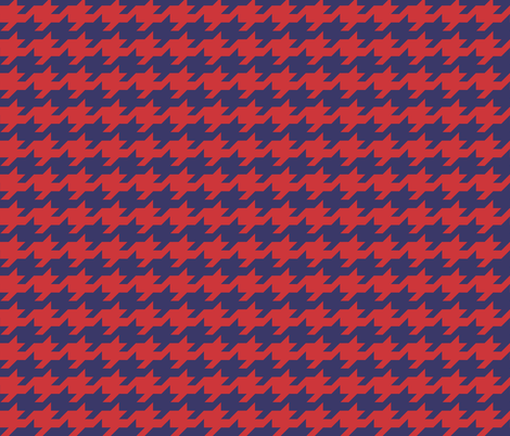 Houndstooth - red and royal fabric by little_fish on Spoonflower - custom fabric