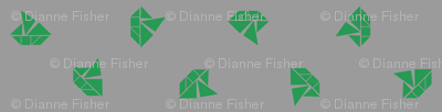 Tangram boats mini - kelly green on grey
