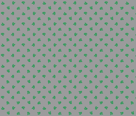 Tangram boats mini - kelly green on grey fabric by little_fish on Spoonflower - custom fabric