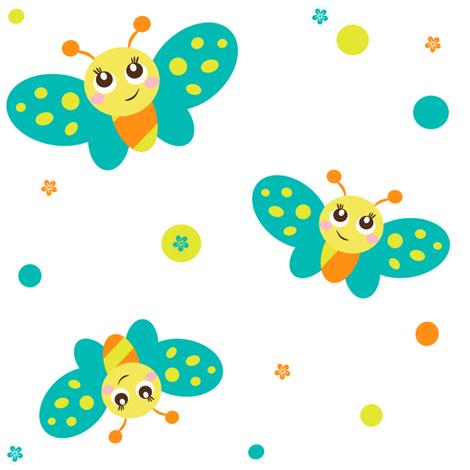 Baby Butterfly Garden! - Baby Butterfly - Spring Garden - © PinkSodaPop 4ComputerHeaven.com fabric by pinksodapop on Spoonflower - custom fabric