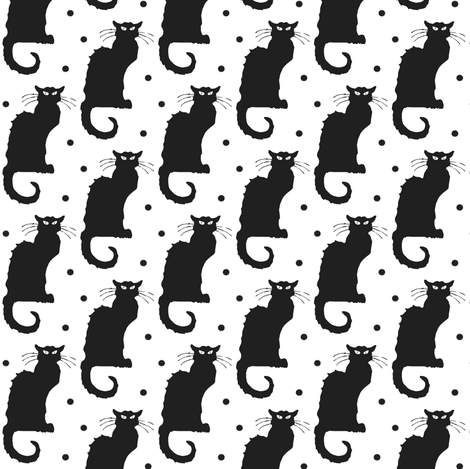 Le Chat Noir Black Cat on White with Black Dots fabric by bohobear on Spoonflower - custom fabric