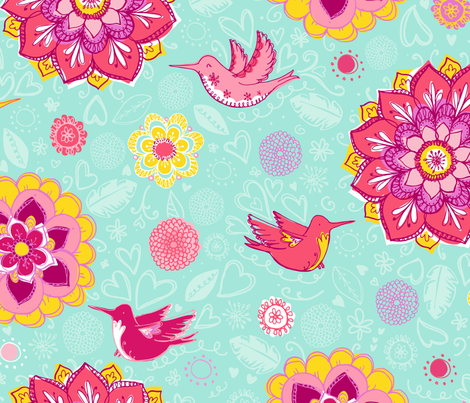 Humming Birds fabric by abby_zweifel on Spoonflower - custom fabric