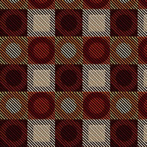 Twill Plaid Circles-Hot Stuff