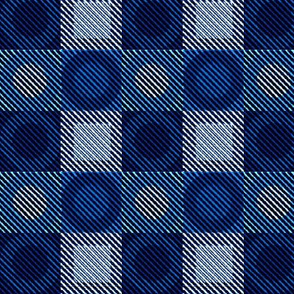 Twill Plaid Circles Blues