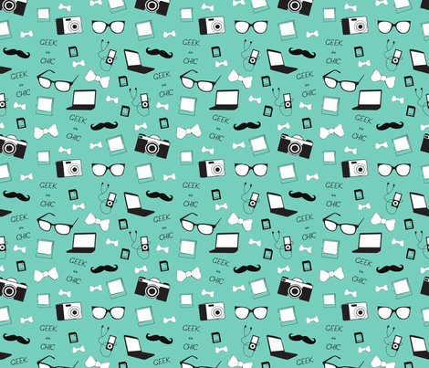 Rapport_geek_is_chic_vert_céladon fabric by carotte23 on Spoonflower - custom fabric