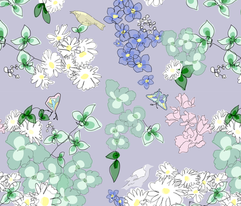 Miss Austen's English Garden fabric by angeladesaenz on Spoonflower - custom fabric