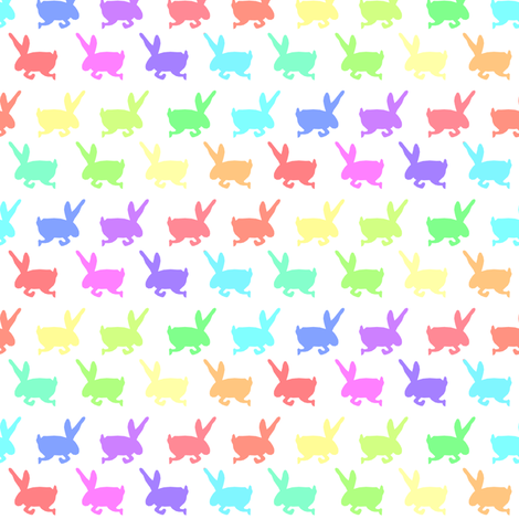 Rainbow Bunny Frolic fabric by pond_ripple on Spoonflower - custom fabric