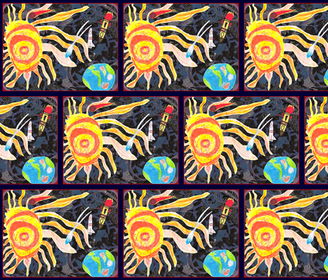 The Earth Loves the Sun (framed block) fabric by walkwithmagistudio on Spoonflower - custom fabric