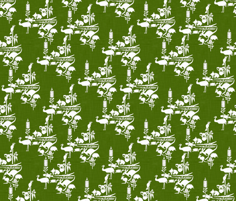 Animal_Corroboree_green fabric by bjornonsaturday on Spoonflower - custom fabric