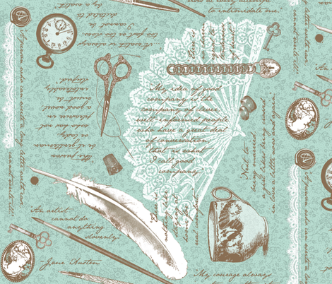 Jane Austen's NOTIONS fabric by amazinart on Spoonflower - custom fabric