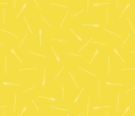 Utensils Pattern Yellow fabric by evemobley on Spoonflower - custom fabric