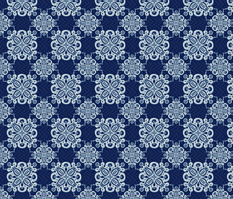 damask navy white 1500 fabric by glimmericks on Spoonflower - custom fabric