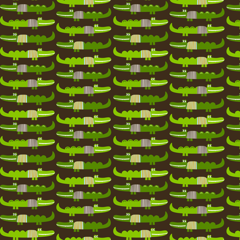 Dressed Alligators in Brown fabric by natitys on Spoonflower - custom fabric