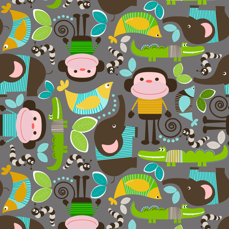 BoyMonkey fabric by natitys on Spoonflower - custom fabric