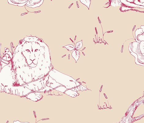 Lion_mouse_toile_beige_red_shop_preview