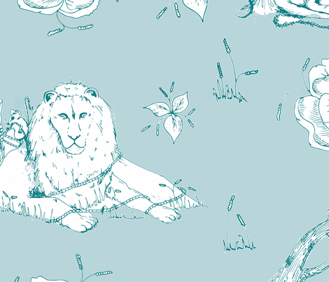 The Lion & The Mouse Teal fabric by jonesyjones on Spoonflower - custom fabric
