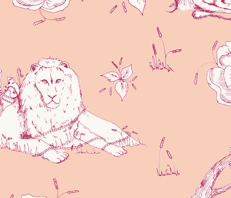 lion_mouse_toile_peach fabric by jonesyjones on Spoonflower - custom fabric