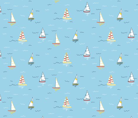 Sailboats fabric by jennjersnap on Spoonflower - custom fabric