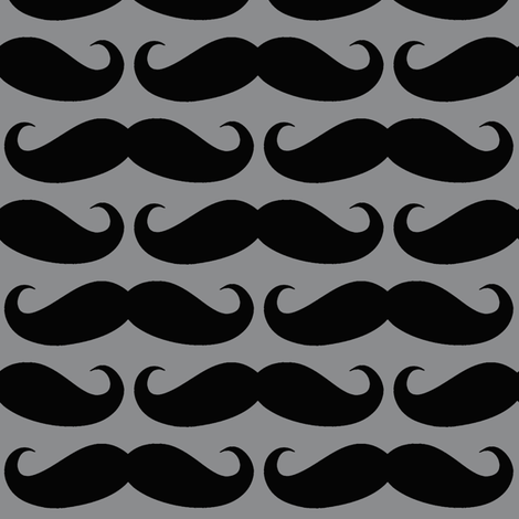 Black on Gray Mustache fabric by cutencomfy on Spoonflower - custom fabric