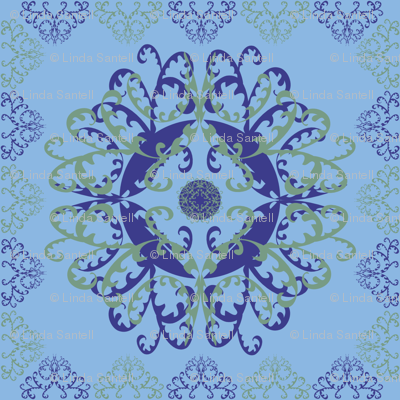 Modern Mandala Dark Blue Light Blue