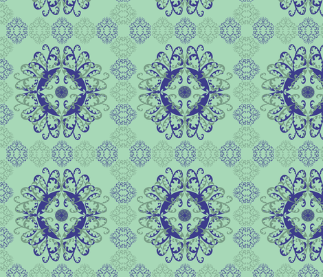 Modern Mandala Dark Blue Pale Green fabric by linda_santell on Spoonflower - custom fabric