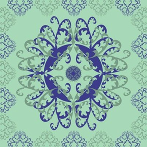 Modern Mandala Dark Blue Pale Green