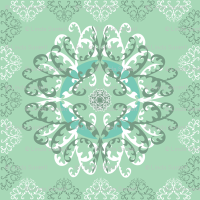 Modern Mandala White Green