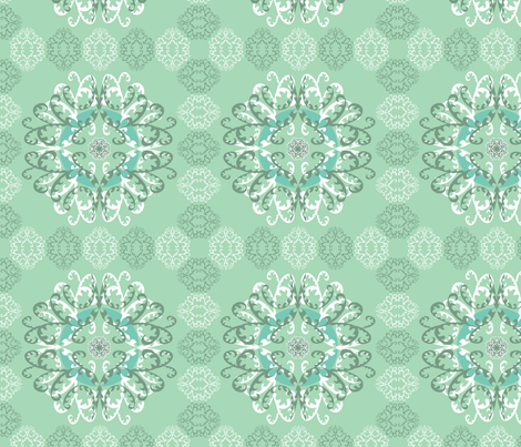 Modern Mandala White Green fabric by linda_santell on Spoonflower - custom fabric