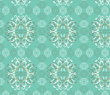 Modern Mandala White Teal fabric by linda_santell on Spoonflower - custom fabric