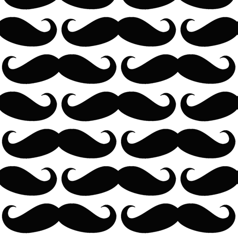 Black on White Mustache fabric by cutencomfy on Spoonflower - custom fabric
