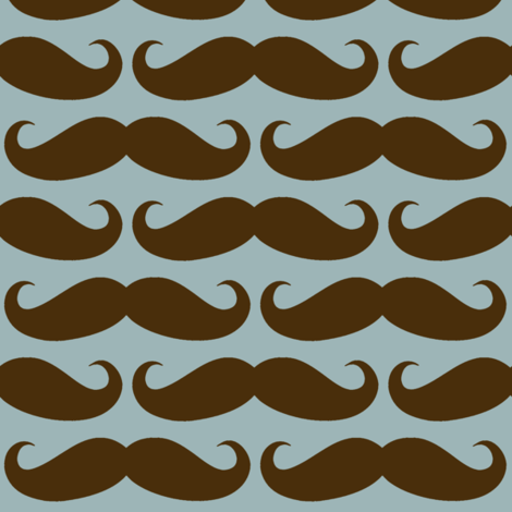 Brown/Blue Mustache fabric by cutencomfy on Spoonflower - custom fabric
